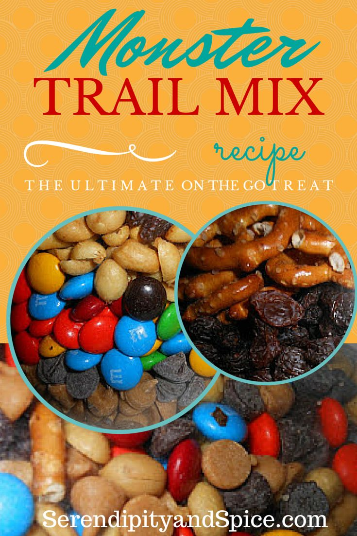 This recipe for Monster Trail Mix is simple and delicious...so much less expensive than the stuff at Target but just as good!  Perfect for a healthy snack on road trips and vacations! Kids love this recipe!