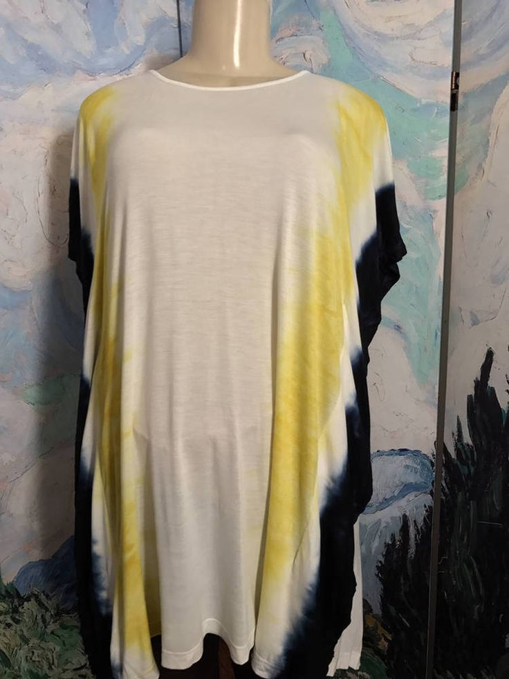 WD-NY L NEW BLUE/YELLOW TIE-DYE SCOOP NECK RAYON BATWING SLEEVE TUNIC TOP #WDNY #Tunic #Casual