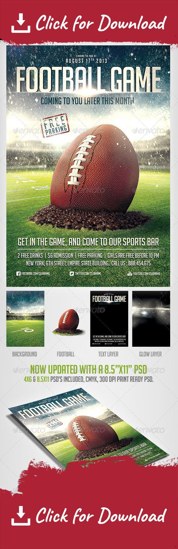 american football, ball, champions, championship, college, college football, cup, event, fans, fantasy, fantasy football, field, flag, flyer, foot, football, football helmet, game, goal, helmet, league, nfl, olympics, playoff, stadium, super bowl, Superbowl Flyer, tournament                     Please dont forget to Rate         here is a cool Football flyer template, to promote your event.. You can easily change Texts, Colors, Add/Remove objects to this layered PSD , To get new versions…