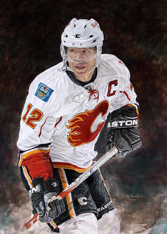 "30"" x 40"" acrylic on canvas painting of Jarome Iginla, Calgary Flames by artist Joe Versikaitis"