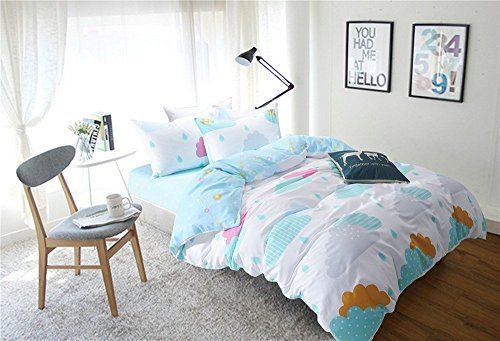 Auvoau Color Fish Marine ParkBlue Clouds Bedding Set Childrens Duvet Cover Bedding Set Twin Full Size Twin 1 >>> Check this awesome product by going to the link at the image.