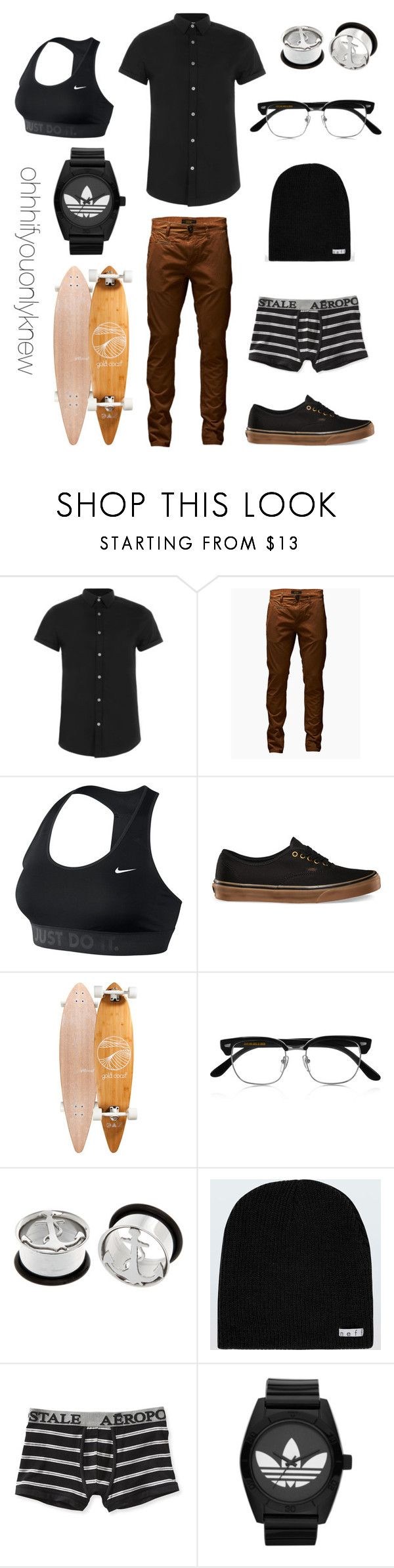"""Untitled #223"" by ohhhifyouonlyknew ❤ liked on Polyvore featuring Topman, Jack & Jones, NIKE, GoldCoast, Cutler and Gross, Neff, Aéropostale and adidas Originals"