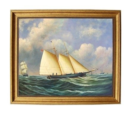 """Madison Bay Schooner And Man-Of-War Photo Frame 41457PP - Madison Schooner And Man-Of-War Photo Frame 41457PPAccurately Reproduced From Original Works. These Are Antiqued Reproductions On Canvas And Framed In The Proper Period Reproduction Frame. Painting Is 16X20"""" Framed To 18.50 x 22.75""""SKU: 41457PPManufacturer: Madison Bay CompanyCategory: Pirate/Nautical"""