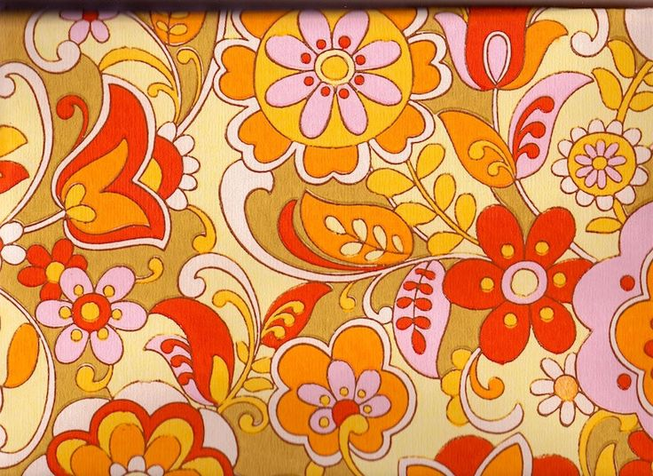Vintage 1970s wallpaper orange and pinks price is per yard via e - Papier peint vintage 70 ...