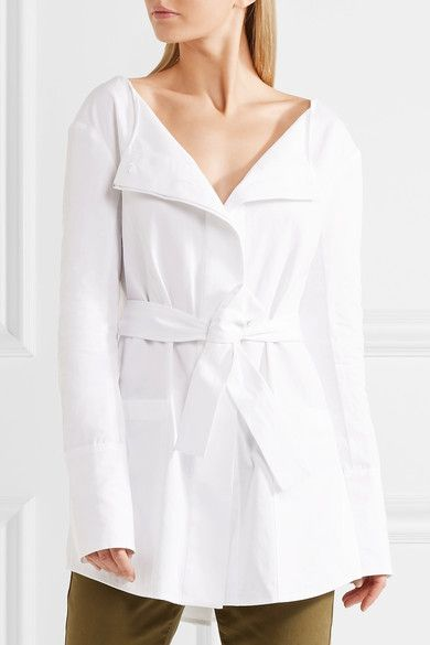 White cotton-poplin  Concealed hook and button fastenings through front  100% cotton Dry clean Designer color: Tissue