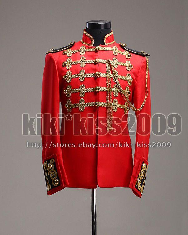 Vintage Military Uniform Gold&Red Suit Jacket Live Singer Costume