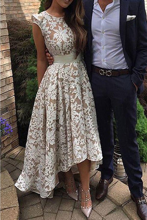 prom dresses 2017 hi low prom dresses,lace prom dresses,cap sleeves prom dresses,chic lace prom party dresses,fashion,women fashion