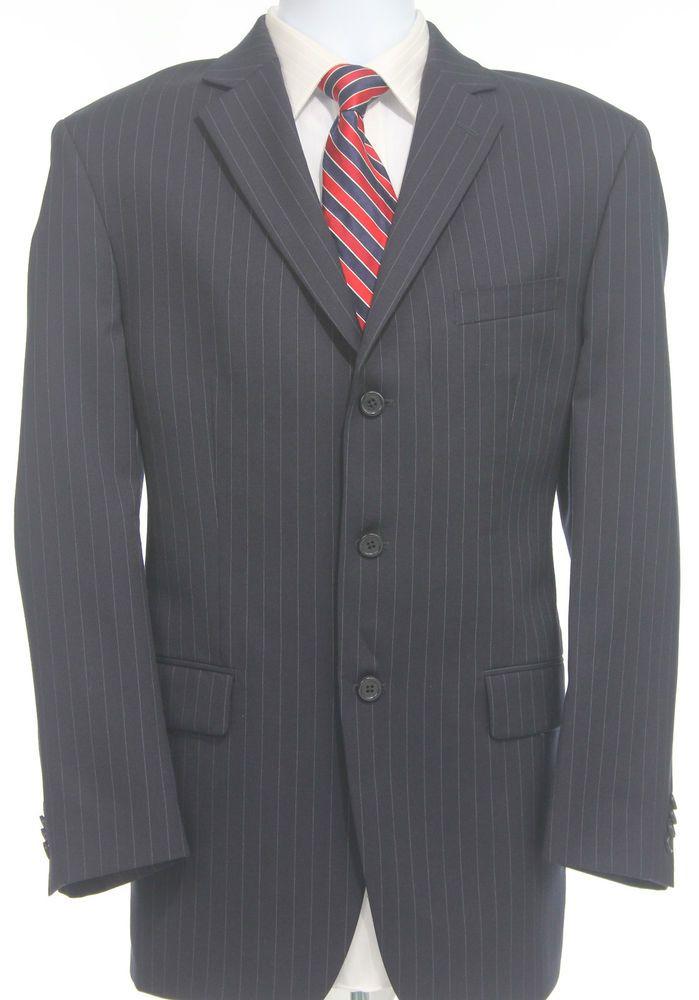 Michael Kors 40R Wool Blazer Mens Size Black Pinstripe Three Button Suit Jacket #MichaelKors #TwoButton