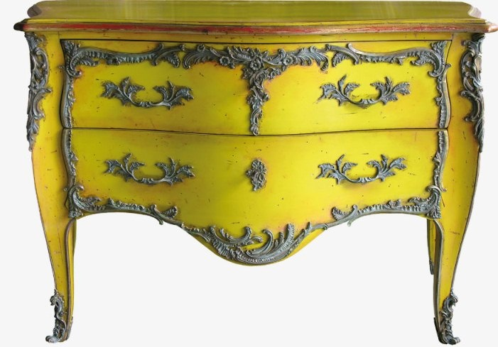 Antique Furniture Reproduction , Italian Classic Furniture :: Yellow Chest Of Drawers in Louis XV Style