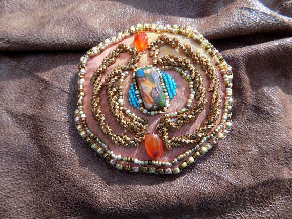 Gold Work and Bead Brooch