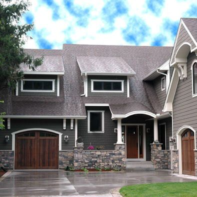 craftsman house dark grey | This warm gray mixes so well with the stone and brings out the wood ...