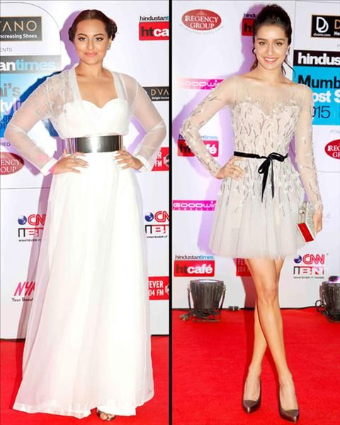 Shraddha Kapoor always plays it safe! She was seen wearing a Paolo Sebastian frock with a black bow on her waist. Sonakshi Sinha was very impressed with princess Liea's look, as she was seen donning a similar kind of look at the awards. Check more pictures of HT Style Awards only on www.biscoot.com