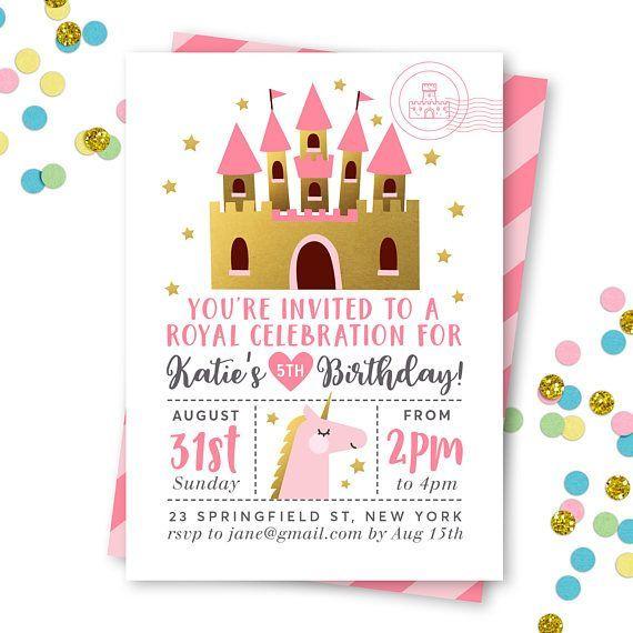 Princess Invitation Princess Birthday Invitation Princess Party