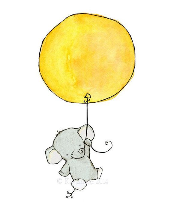 Nursery Art Elephant Balloon Art Print by trafalgarssquare, $10.00