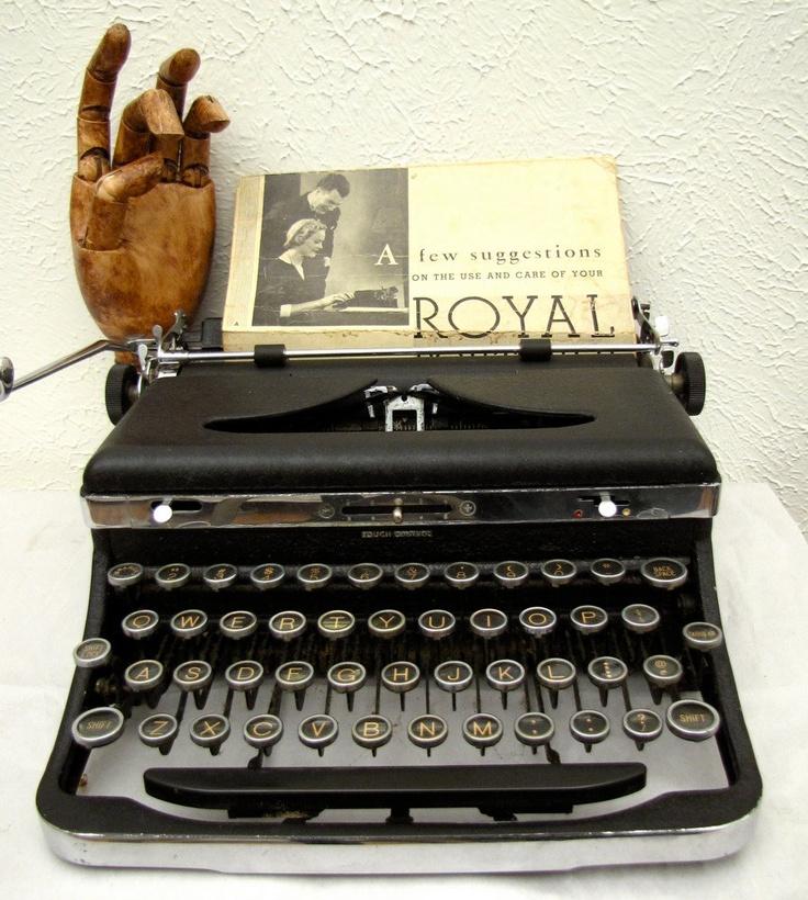 Vintage Royal Portable Typewriter Part - 24: Vintage Royal Typewriter De Luxe 1930s Portable With Original Wooden Case  Glass Keys DeLuxe