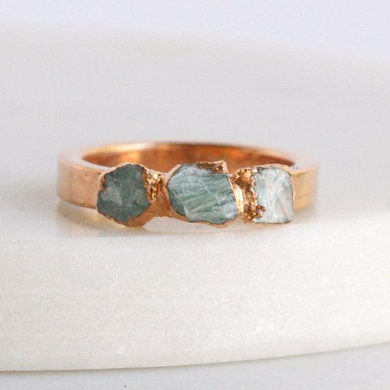 amazonite ring / teal stone ring / jade ring / by DANIBARBEshop