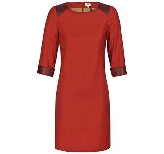 Love this dress! Feines Kleid mit Lederbesatz - Farbe: coralle
