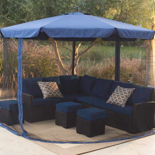 Coral Coast 11-ft. Offset Umbrella with Detachable Netting - Patio Umbrellas at Hayneedle $205