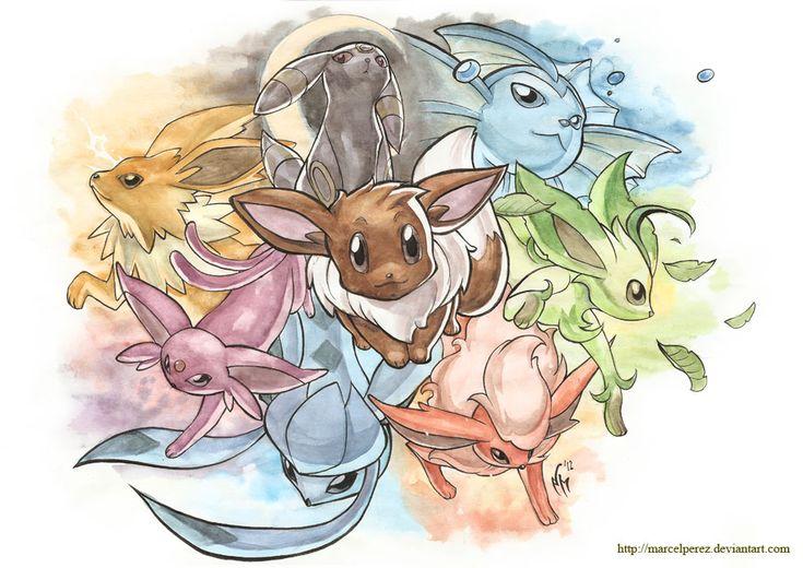 Pokemon - Eeveelutions by *MarcelPerez on deviantART
