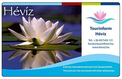 Hévíz Card+ Use the special services offered by Hévíz Card+! + 1 hour to your 3 hours' ticket to the lake +1 hour free parking in the Large Car Park, +1 ...