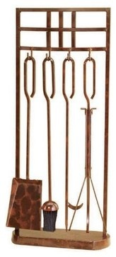 Rustic Copper Fireplace Tool Set with Rectangle Stand - traditional - fireplace accessories - - by Lamps Plus