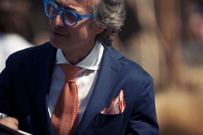 cravate tricot orange pitti uomo