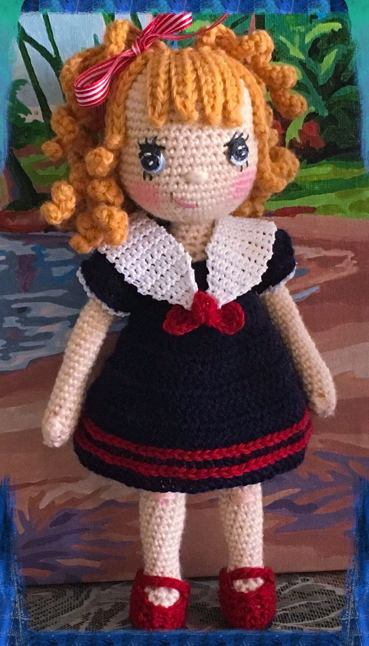 https://flic.kr/p/GAgqrJ | April in Sailor Outfit | The outfit is from Annie's Potter Presents, Little Darling Wardrobe. Hook Size C, KnitPicks Pallet.♡