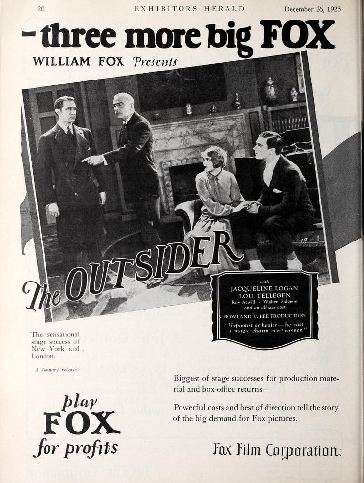 1926 The Outsider Jacqueline Logan and Roy Atwill Film