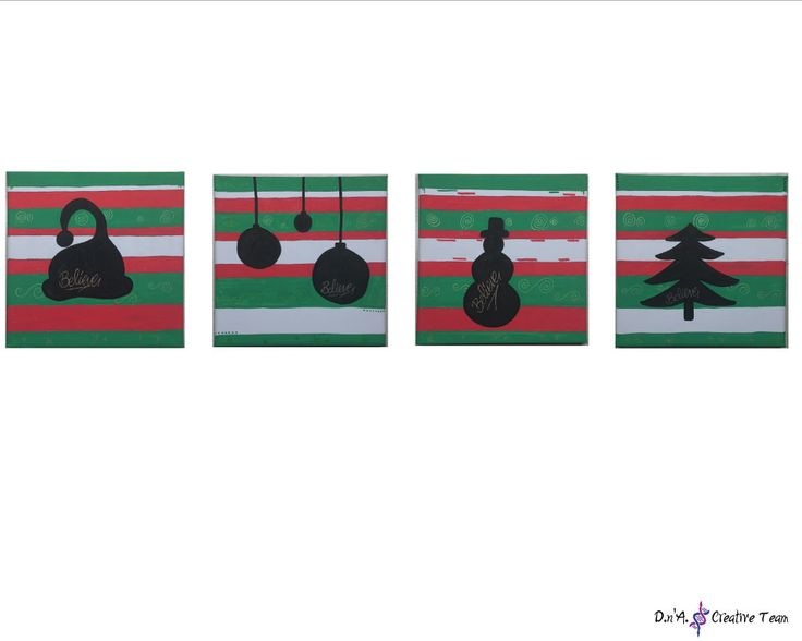 -BELIEVE IN CHRISTMAS -Water markers on canvas -Measures: 20x20 cm each