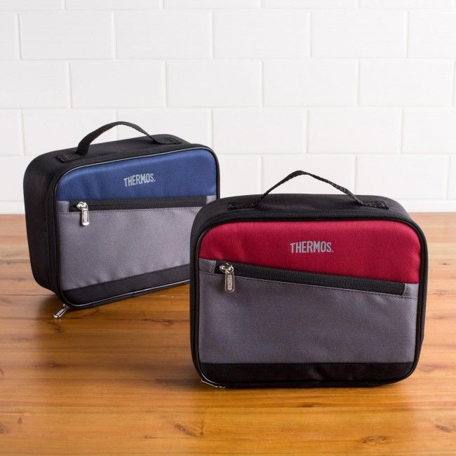 Keep your lunch cool on the go with an insulated Thermos lunch bag. This bag features a full zippered closure, a zippered pocket and a thermal insulated lining.