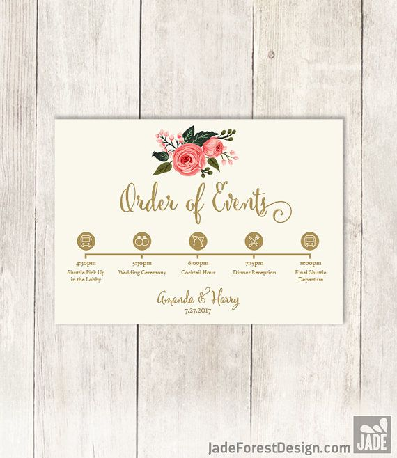 Floral Wedding Schedule of Events DIY / Wedding Itinerary