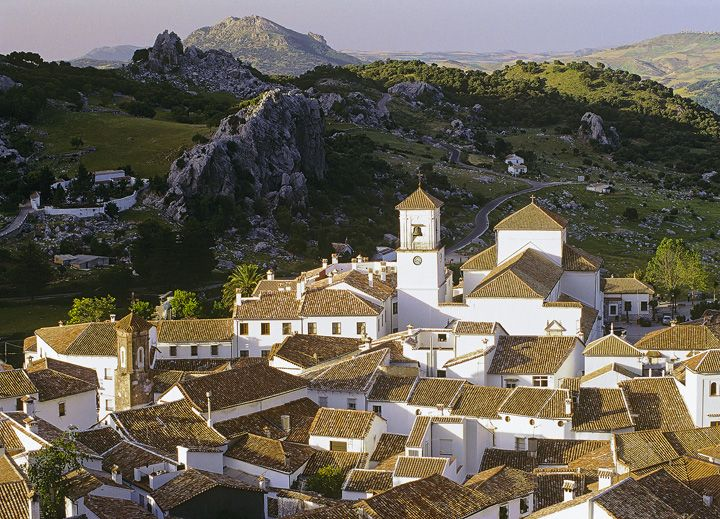 sunset in the white hill town of Grazalema ... in the Andalucia region of southern Spain