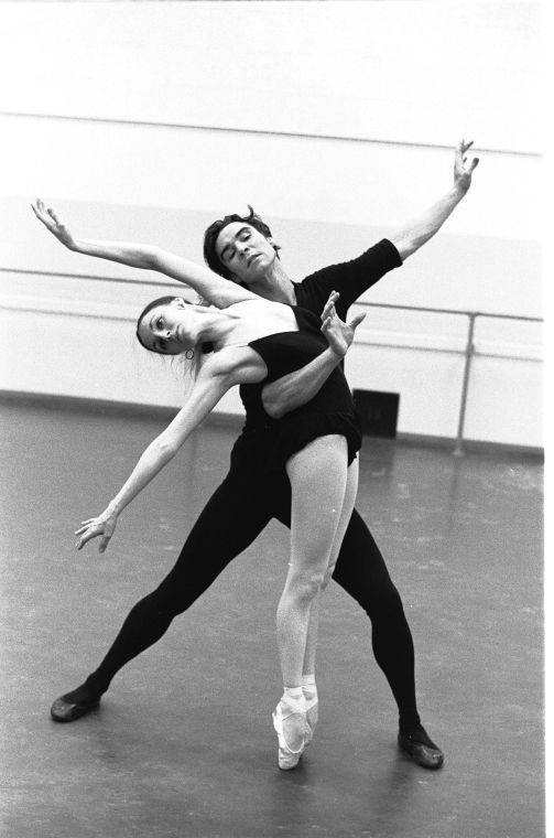 """New York City Ballet rehearsal of """"who cares"""" with Patricia McBride and Jacques d'Amboise, choreography by George Balanchine (New York) IMAGE ID: SWOPE_1211357"""