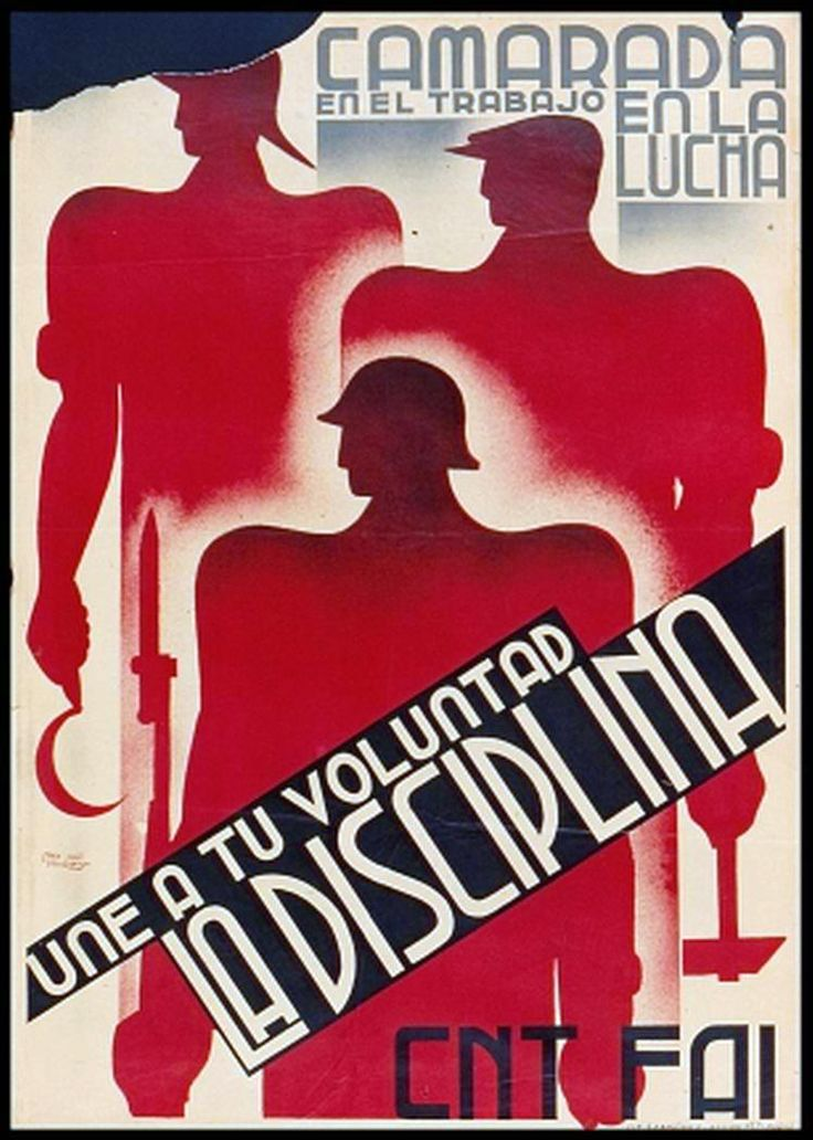 Spanish Civil War! Afiche de propaganda libertaria CNT-FAI | Guerra civil Española 1936-1939 |