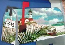 Shore Time Lighthouse Boat 100% Magnetic Mailbox Cover Nautical Coastal Garden