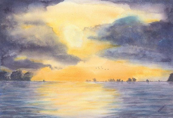 Golden Sunset Sunrise Stormy Clouds Sky Waterscape Birds Ocean Sea
