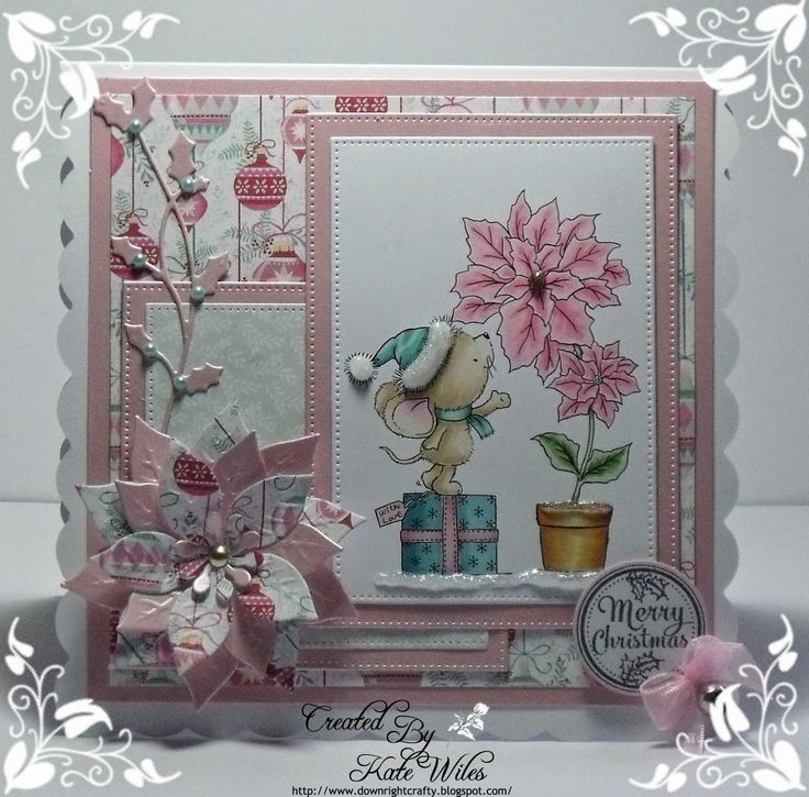 Handmade Christmas Card Using Wild Rose Studio New Releases Image - Mouse and Poinsettia Papers - Festive Wishes Sentiment - Christmas Labels Downrightcrafty