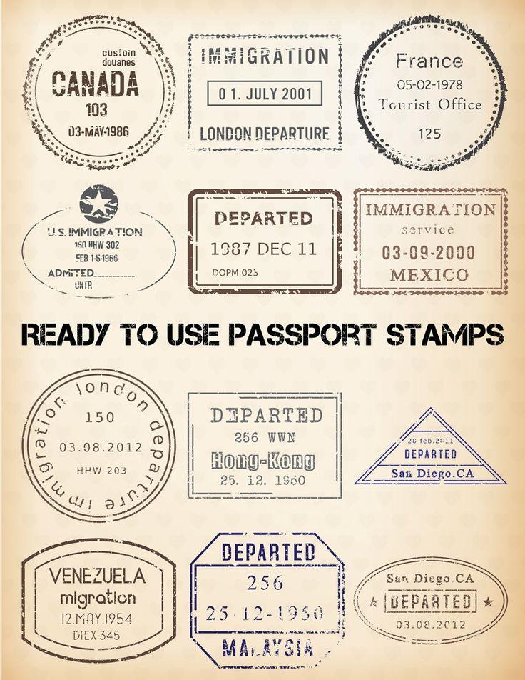 PASSPORT STAMP Clipart - 24 Digital Clip Art Images - EDITABLE Templates - Vintage Travel Graphic - Instant Download - Bonus Images by graficaitalia on Etsy