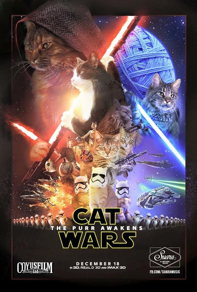 "This would be the best thing ever. Cat Wars. Mind blown. Ep. 1 ""The Feline Menace"" Ep. 2 ""Attack of the Whiskers"" Ep. 3 ""Revenge of the Puss"" Ep. 4 ""A New Cat"" Ep. 5 ""The Empire Hisses Back"" Ep. 6 ""Return of the Tabbies"" Ep. 7 ""The Purr Awakens"" I also love that one cat who is just calmly beheading BB-88."