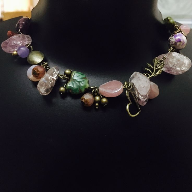 Antique amethyst rock and pink pearl necklace