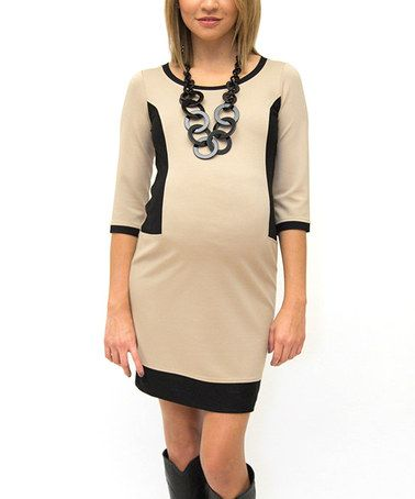 Take a look at this Camel & Black Color Block Maternity Dress by Debbi O. Maternity on #zulily today!