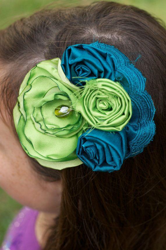 Turquoise blue and green beaded fabric flower bridal hair clip wedding bridesmaid bride photo prop flower headband ruffles