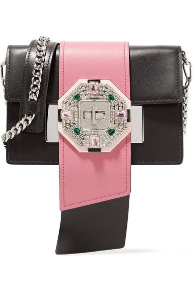 Black and pink leather (Calf) Twist-lock fastening front flap Weighs approximately 1.8lbs/ 0.8kg Made in Italy