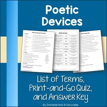 Help students learn Poetic Devices (alliteration, simile, hyperbole) with this print-and-go terms sheet and quiz. This quick quiz uses matching, examples, and short response. (grades 5-12)