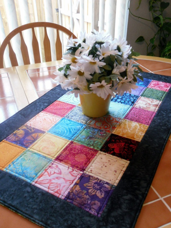 batik quilted table runner. A cute and quick way to personalize your space.                                                                                                                                                                                 More