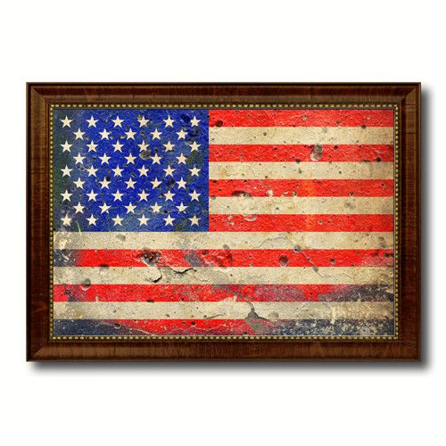United States Vintage American Flag Canvas Print with Brown Picture Frame Home Decor Wall Art Gift Ideas
