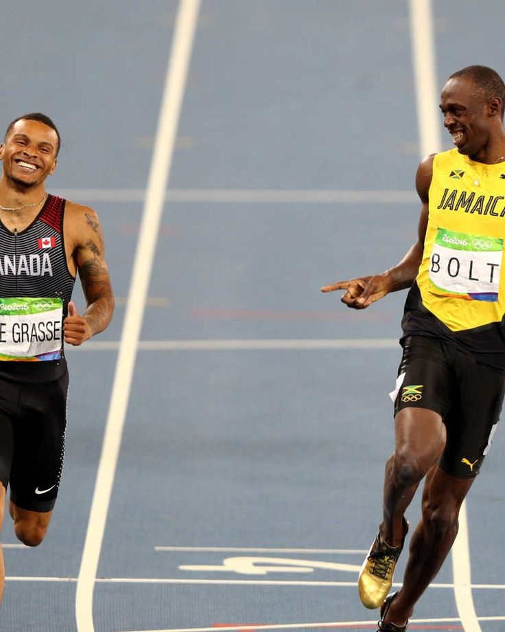 Usain Bolt and Andre De Grasse Frolicking Across the Finish Line: A Meme Bromance for the Ages