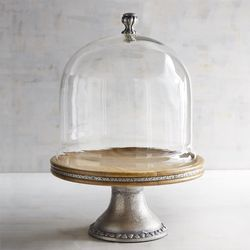 Wood & Metal Cake Stand with Dome