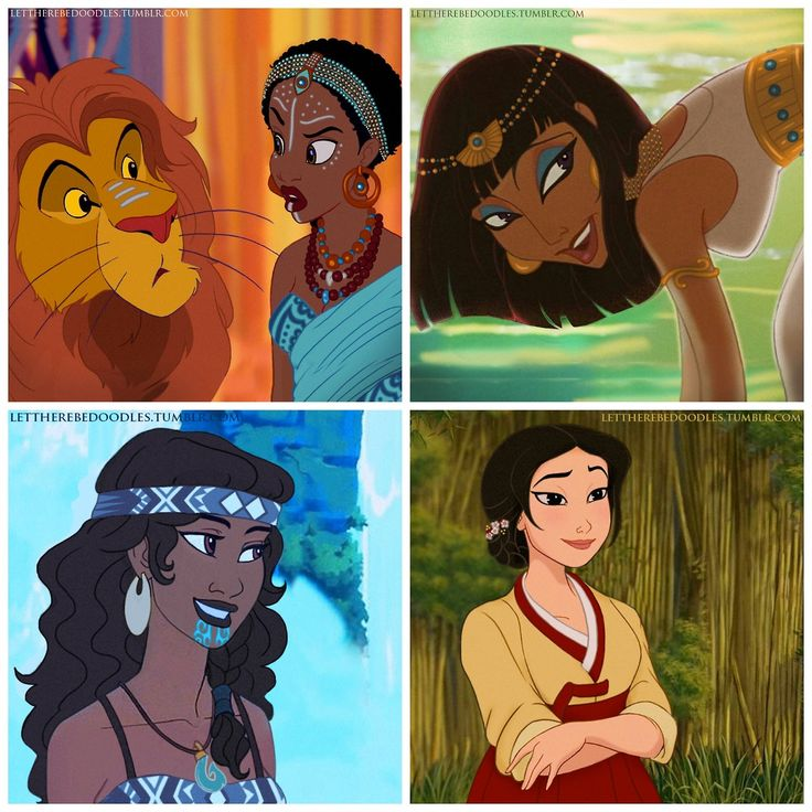 """Jasmine, Megara, Kida, and Jane """"Race-bent"""" by Let There Be Doodles!"""