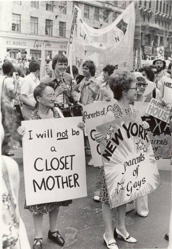 PFLAG Moms, Mrs. Elizabeth Montgomery and Mrs. Jean Manford, show their support during the 1974 Pride Day Parade in New York City